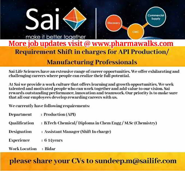 Urgent requirement for Shift Incharge - Production / Manufacturing @ Sai Life Sciences
