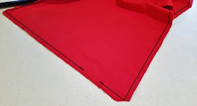 """Sewing together the Superman cape pieces with a 1/2"""" seam allowance"""