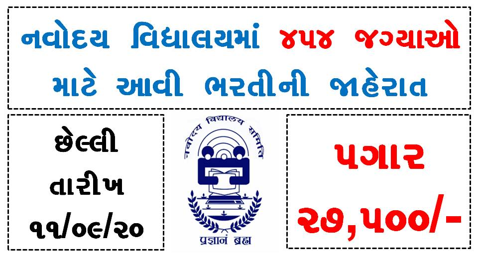 NVS 454 PGTs, TGTs, Misc. Teachers & FCSA Recruitment 2020