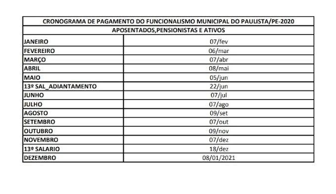 Paulista divulga calendário anual de pagamento do funcionalismo