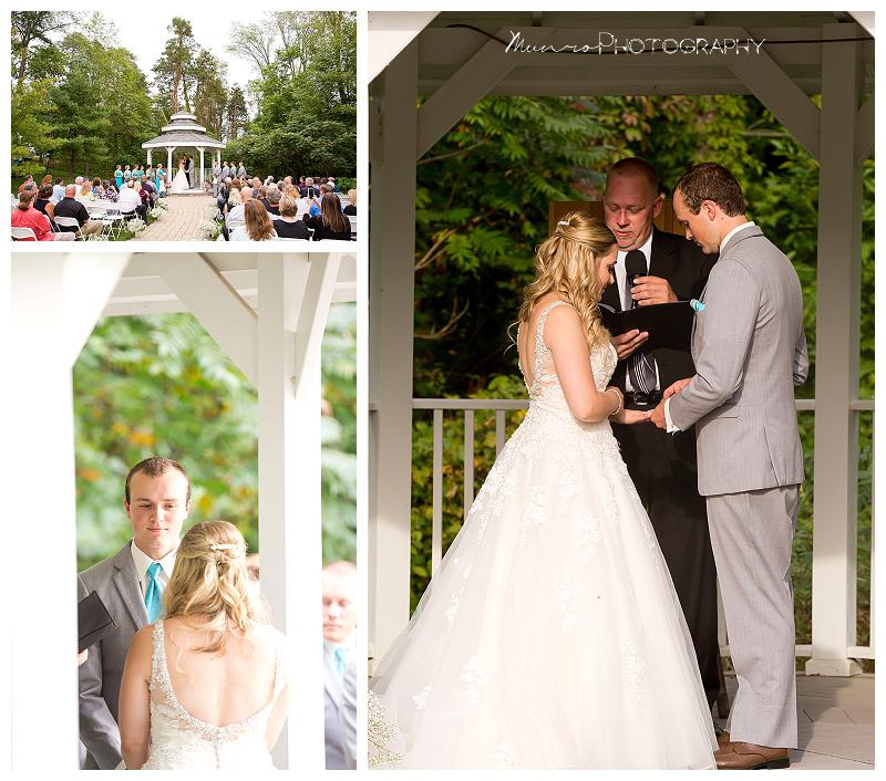 outdoor ceremony, gazebo, teal dresses, country, romantic, ring exchange