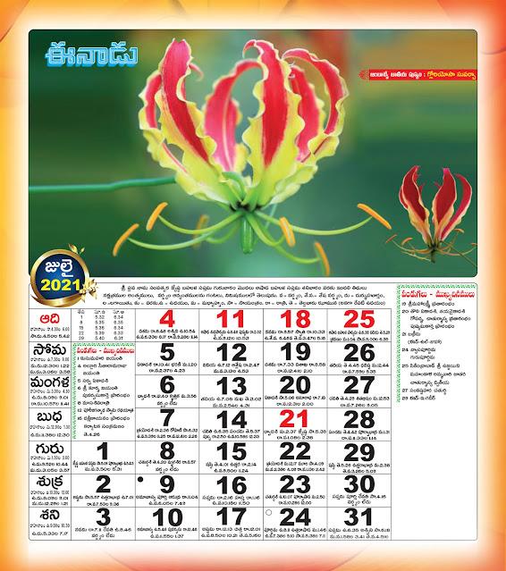 Eenadu Telugu Calendar July 2021