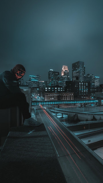 Alone Hoodie Guy, Mask, City, Roof, Night