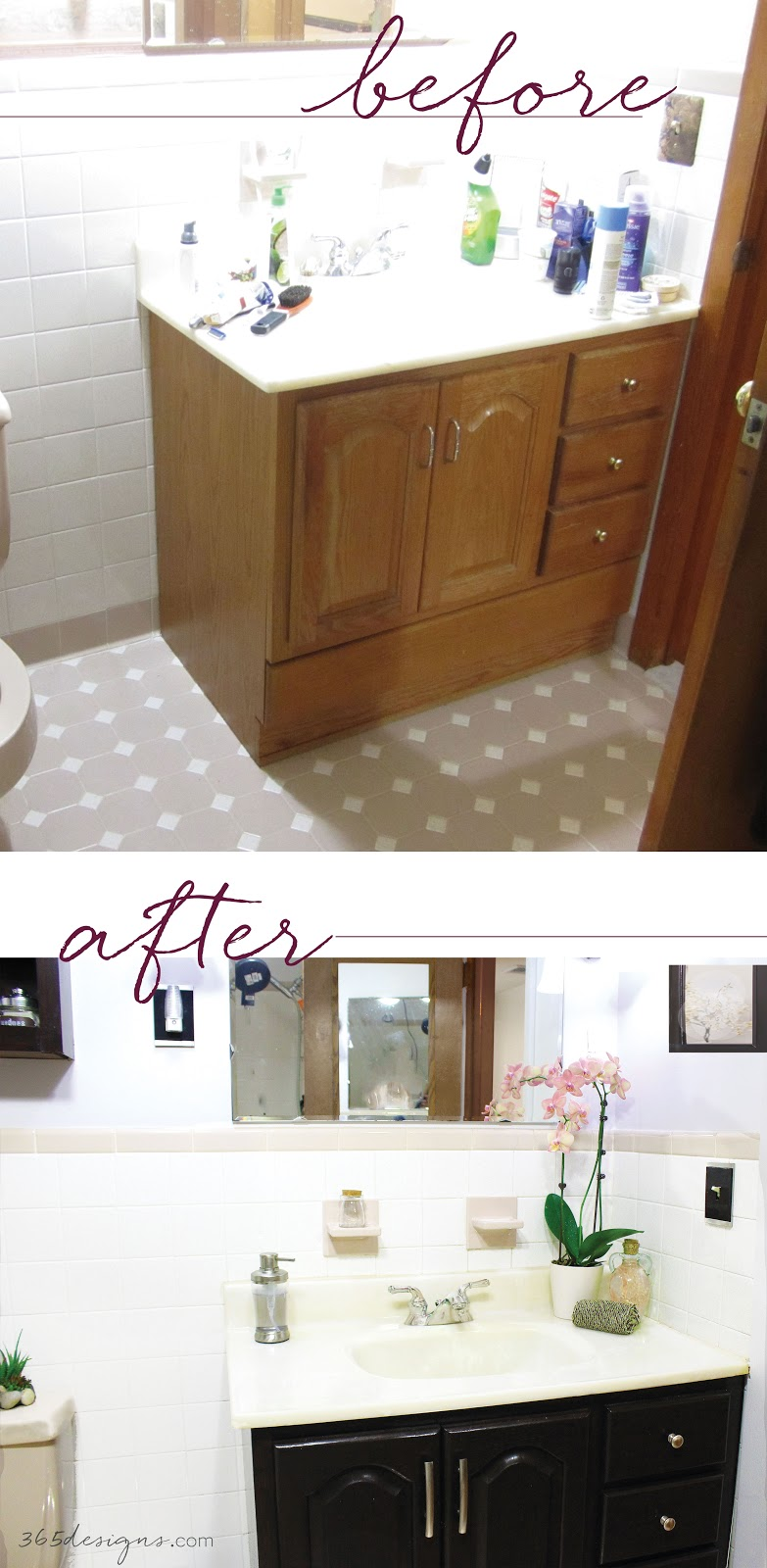 before after java stain general finishes bathroom cabinet