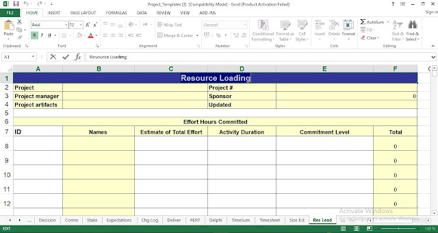 Resource Loading Template