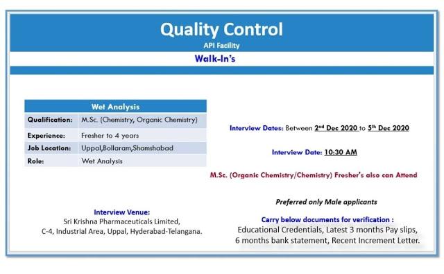 Sri Krishna Pharma | Walk-in for Freshers and Experienced in QC on 2 to 5 Dec 2020