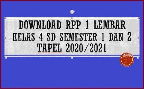 Download Contoh Rpp 1 Lembar Kelas 4 Sd Semester 1 Dan 2 Tapel 2020 2021 Sd Negeri Dabung 2