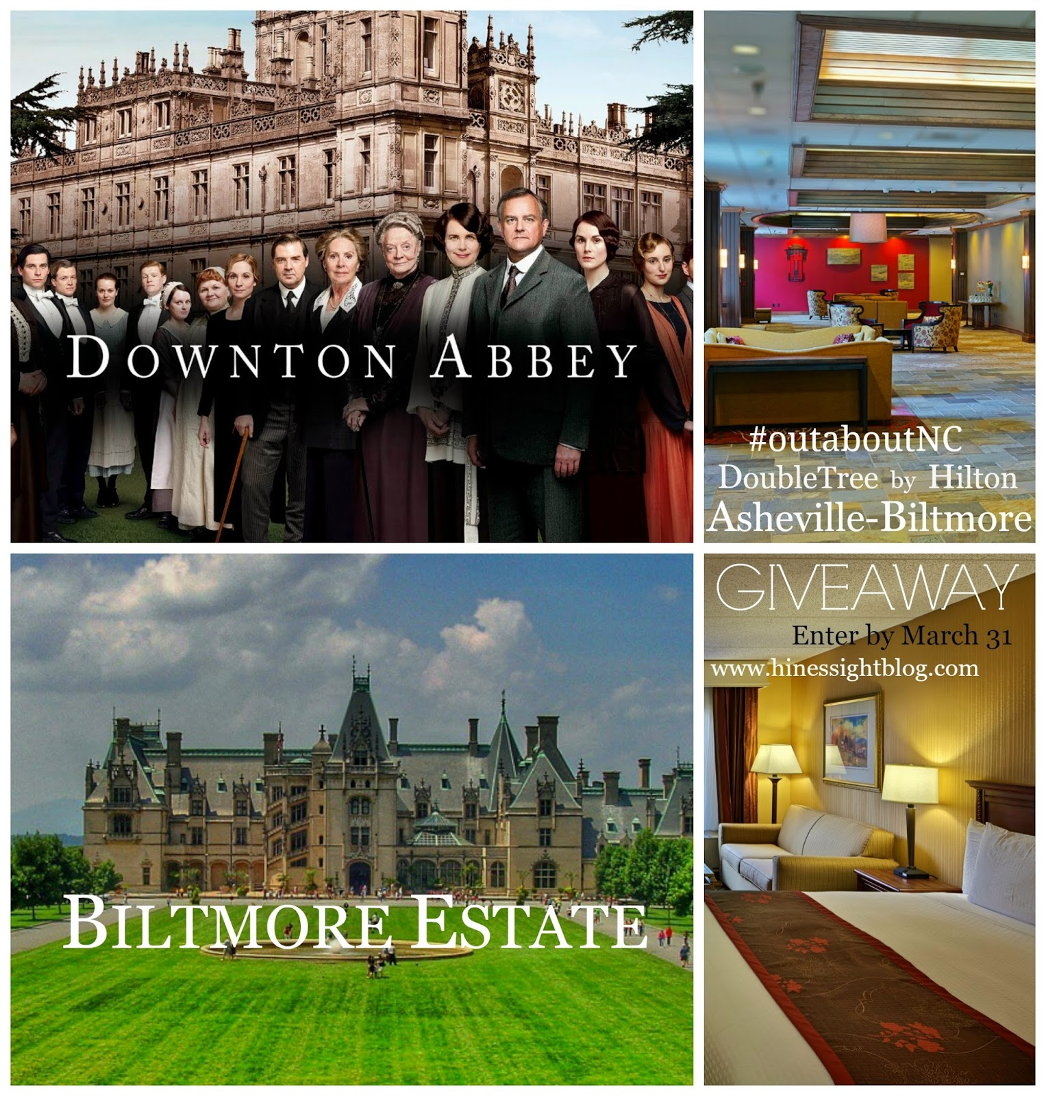 #outaboutnc Giveaway: The Downton Abbey Package at DoubleTree Asheville-Biltmore. Ends March 31, 2015.