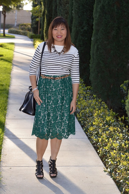 J Crew Floral Lace Skirt, Ann Taylor Stripe Button Tee