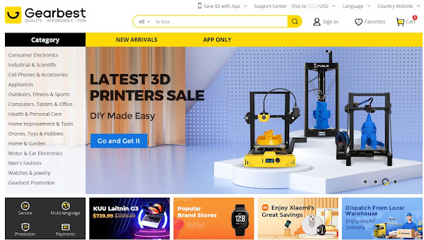 Site da Gearbest de novo Online