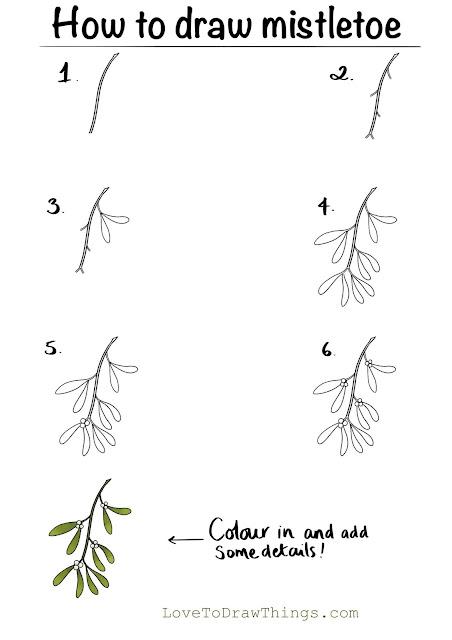 How to draw mistletoe