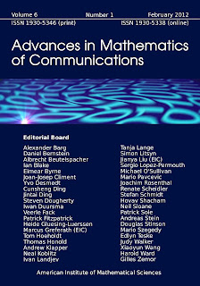 ADVANCES IN MATHEMATICS OF COMMUNICATIONS