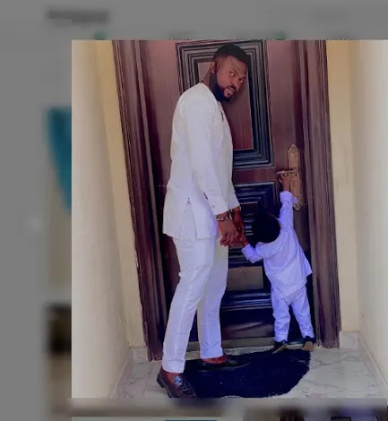 Reactions As Toyin Abraham And Husband, Kolawole, Continue To Hide Son's Face.