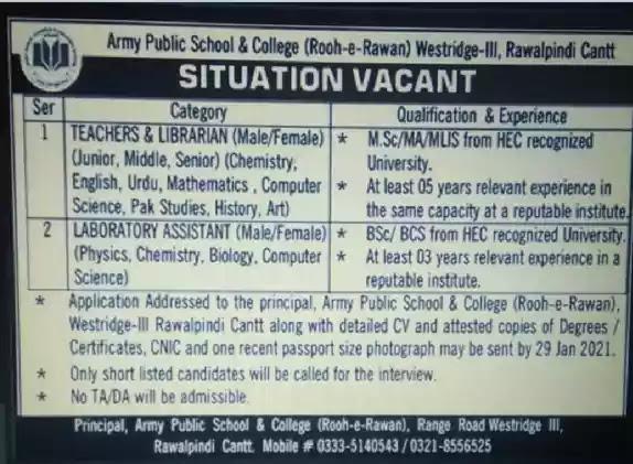 Latest Jobs in Pakistan Army Public School and College Rawalpindi Jobs 2021 | Teaching Jobs Latest