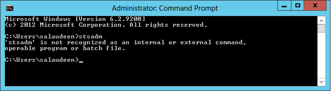 stsadm' is not recognized as an internal or external command