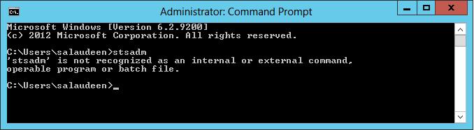 stsadm' is not recognized as an internal or external command