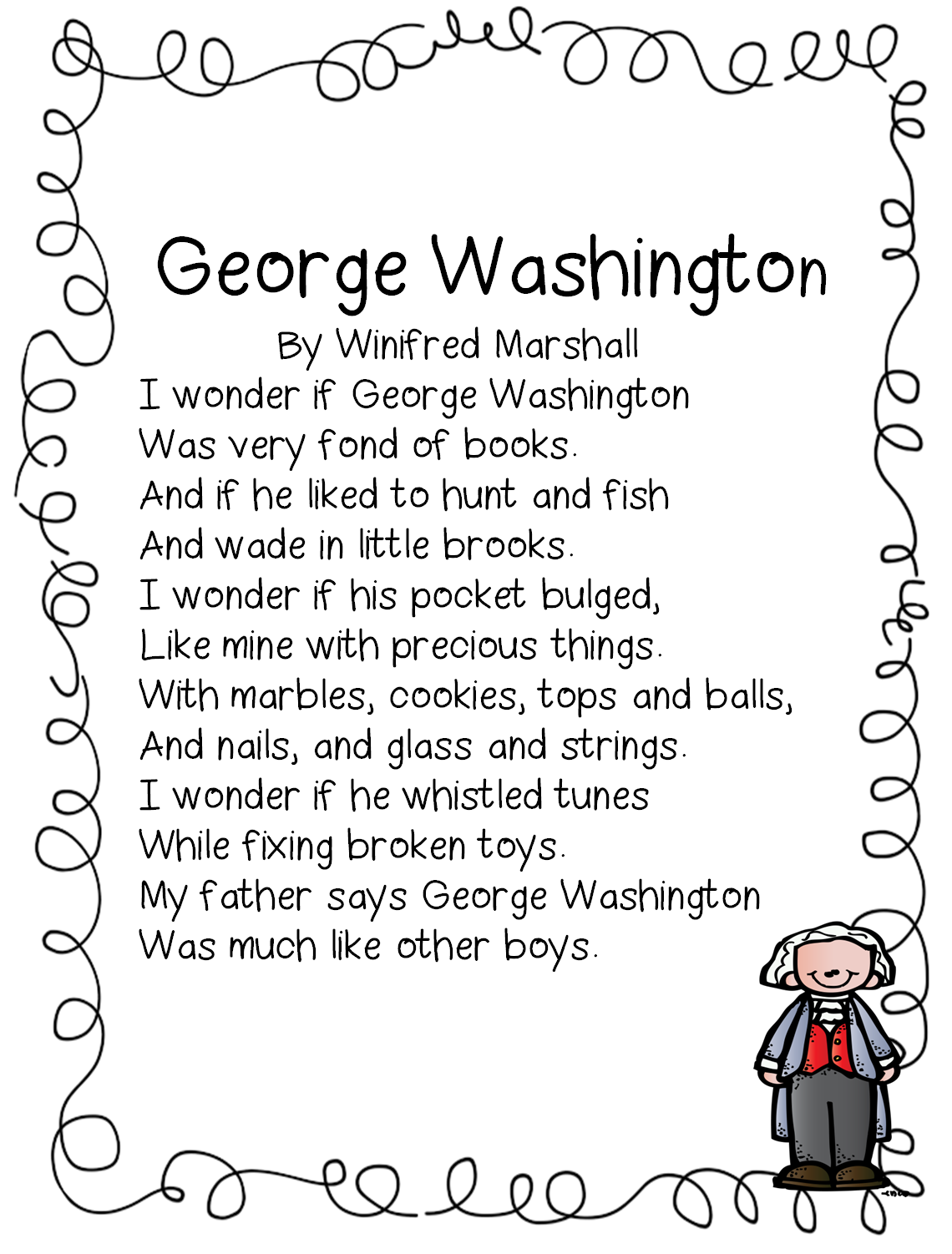 First Grade George Washington Worksheets
