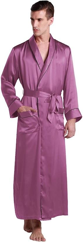 Purple Men's Silk Robes