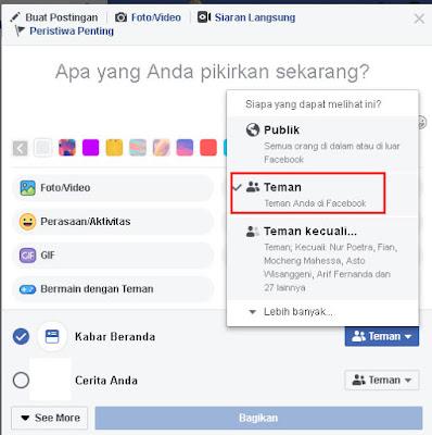 Privasi  Facebook Teman