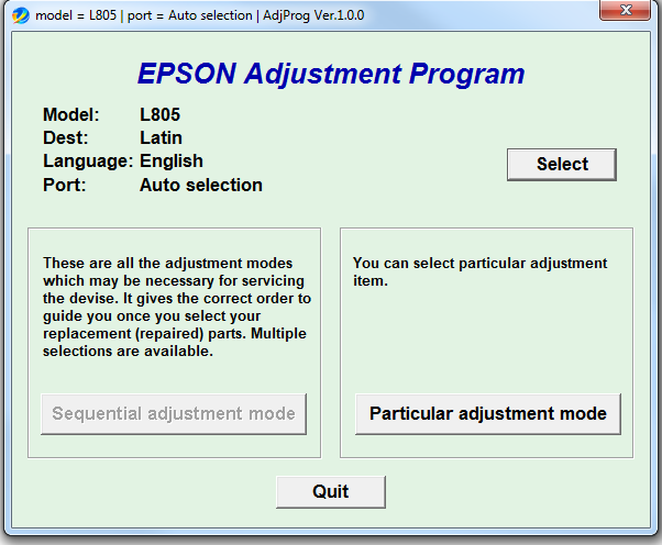 Epson L805 Resetter Software Free Download