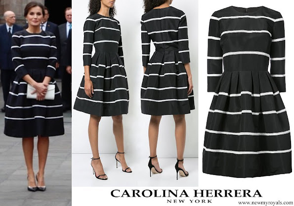 Queen Letizia wore Carolina Herrera striped fit and flare dres