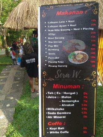 daftar menu di cafe taman tanah pegat
