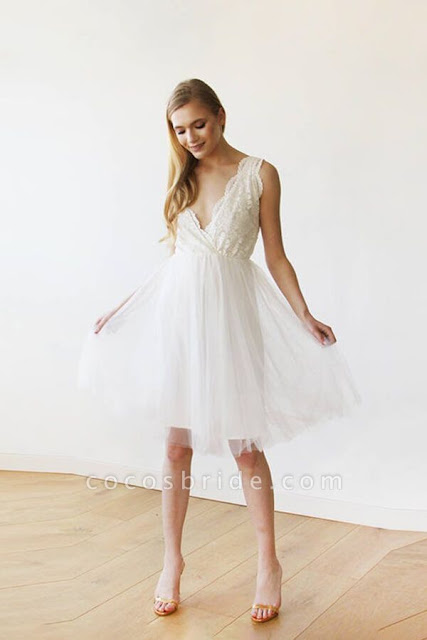 V-neck Lace Tulle Knee Length Wedding Dress