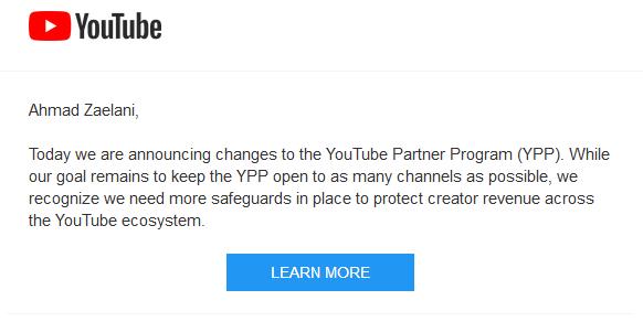 Peraturan Youtube : 4.000 Jam Tonton dan Punya 1.000 Subcriber