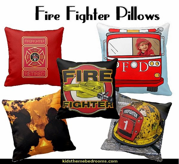 Firefighter Throw Pillows  fire truck bedroom decor - Firefighter bedding - fireman bedding - fire truck bedroom decorating ideas - flames bedding - Fire Engine Beds - Fire truck bedrooms - dalmatian theme bedrooms