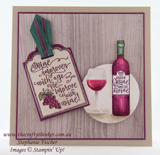 Wine bottle, Half Full, Sneak Peek Holiday Catalogue 2017, Masculine card, #thecraftythinker, Stampin' Up Australia Demonstrator, Stephanie Fischer, Sydney NSW