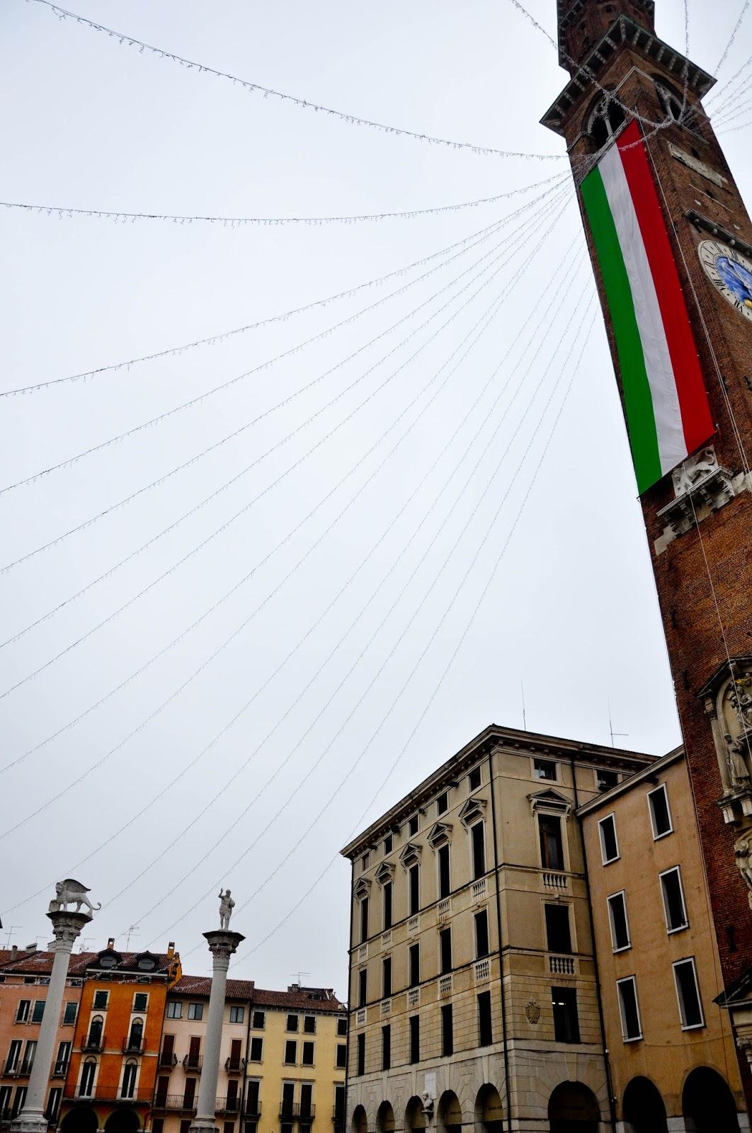 Piazza dei Signori with the Italian flag, Saint Barbara celebration, Vicenza, Veneto, Italy