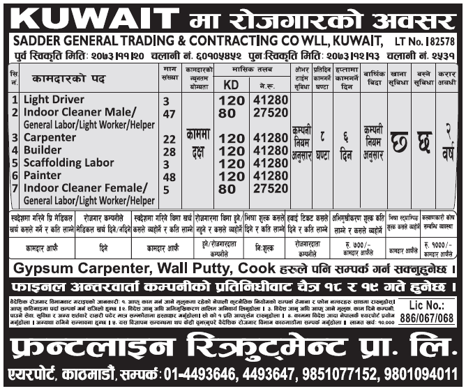Jobs in Kuwait for Nepali, Salary Rs 41,280