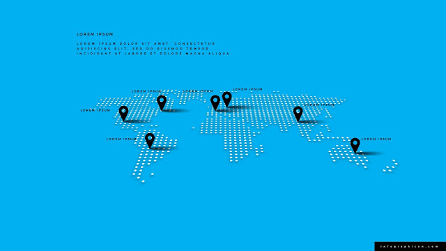 Perspective World Map Infographics for PowerPoint Template Type D
