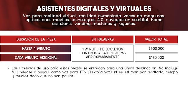 Tarifas de Locución para Asistentes Virtuales y Sistemas Digitales - Colombia 2021