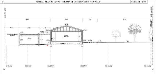 Permis de construire 13 composition d 39 un dossier de - Plan en coupe terrain et construction ...
