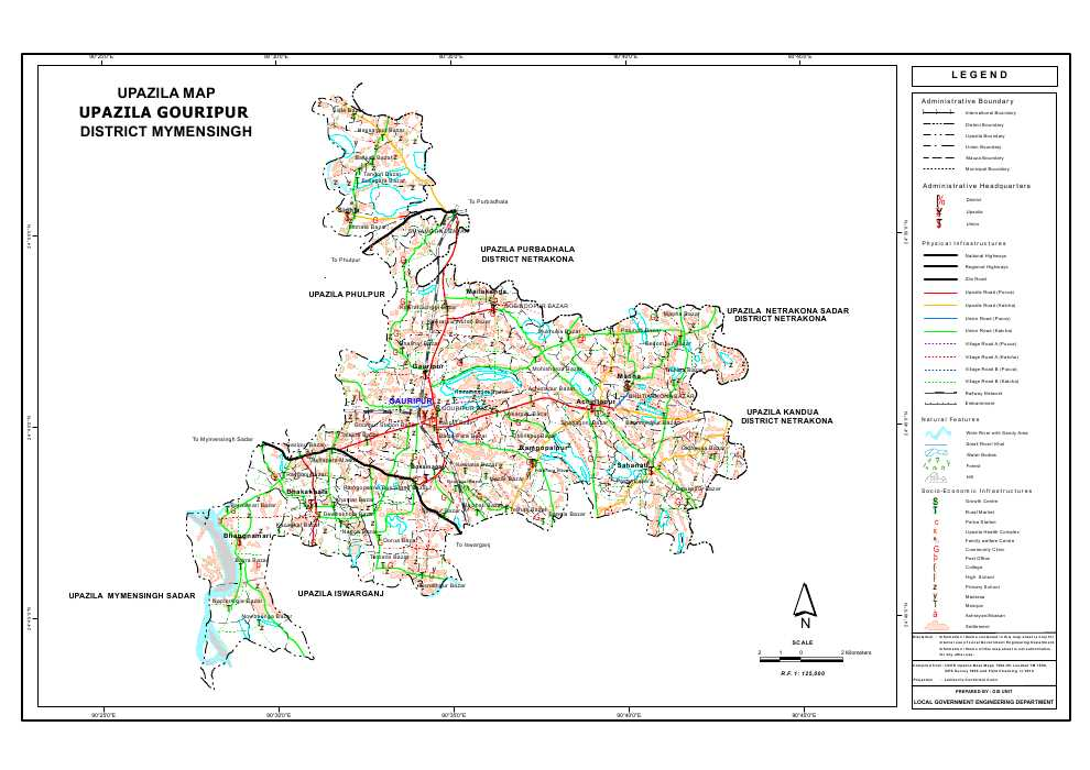 Gouripur Upazila Map Mymensingh District Bangladesh