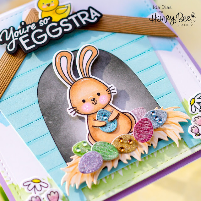 You're So EGGstra, Easter, Bunny Card,Honey Bee Stamps, Easter Buddies, Chicken Coop, Scene Card, Card Making, Stamping, Die Cutting, handmade card, ilovedoingallthingscrafty, Stamps, how to,