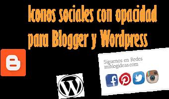 Iconos sociales con opacidad para Blogger y Wordpress