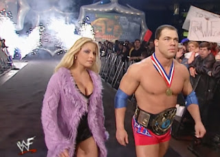WWE / WWF Royal Rumble 2001 - Trish Stratus led WWF Champion Kurt Angle into battle against Triple H
