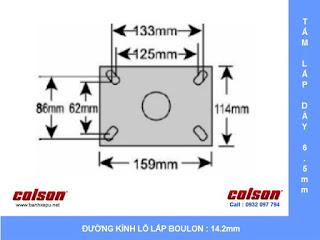 Kích thước Bánh xe đẩy có phanh hãm giảm xóc Colson phi 150 | SB-6509-648BRK1 sử dụng bạc đạn www.banhxeday.xyz
