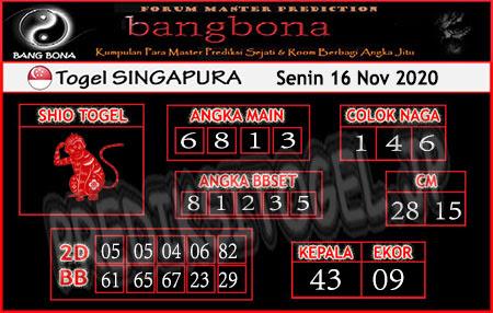 Prediksi Bangbona SGP Senin 16 November 2020