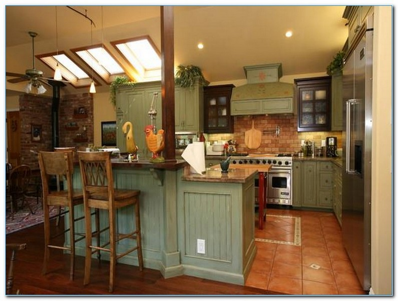 Green Country Kitchen Ideas Vintage Design Pictures Home Interior Decor With Two