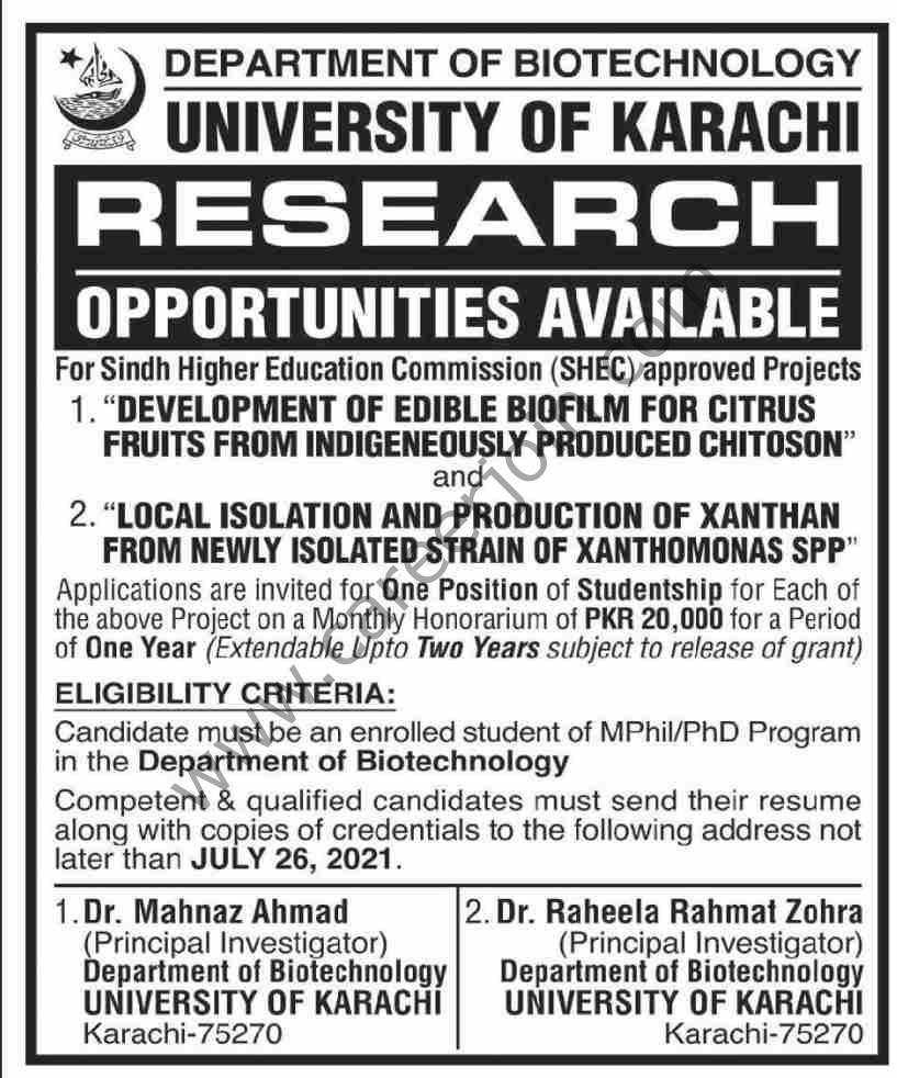 University of Karachi UOK Jobs July 2021