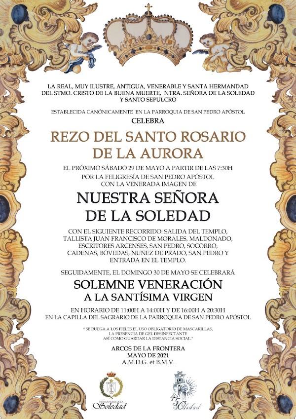 La Soledad de Arcos de la Frontera saldrá en Rosario de la Aurora por las calles de la feligresía de San Pedro