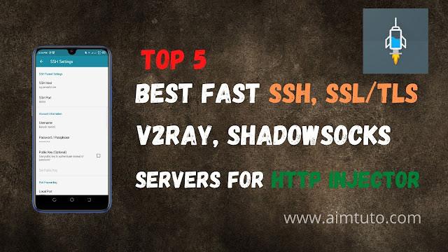 best ssh, ssl/tls, v2ray, shadowsocks servers for http injector