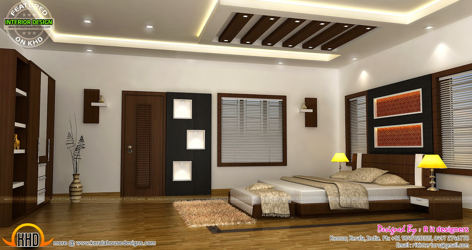 Bedroom interior design with cost kerala home design and for Beautiful mansions interior bedrooms