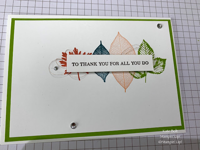 Hand made thank you card using the Rooted In Nature stamp set from Stampin Up for Coffee and Cards.