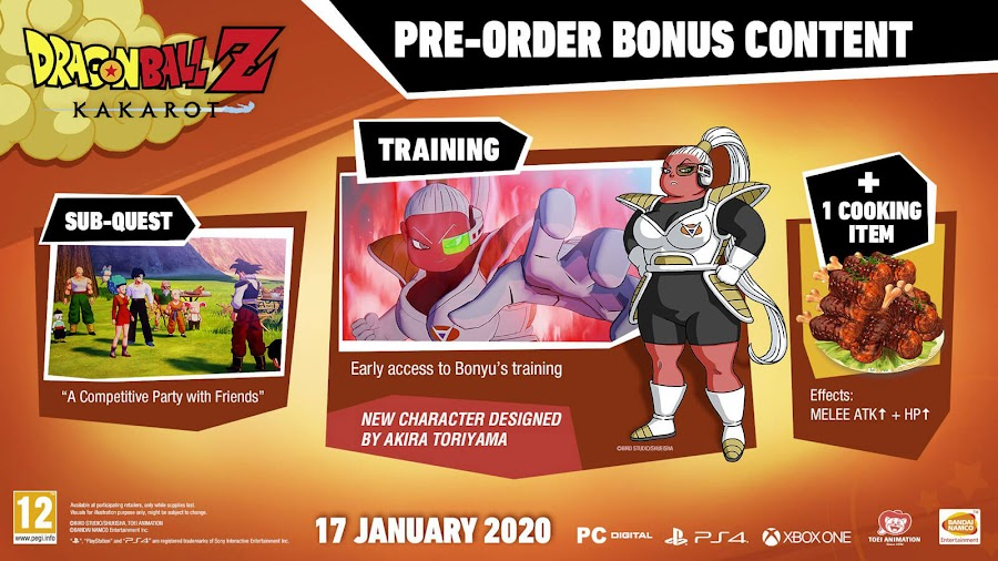 dragon ball z kakarot pre-order bonus content bandai namco pc ps4 xb1 new character bonyu