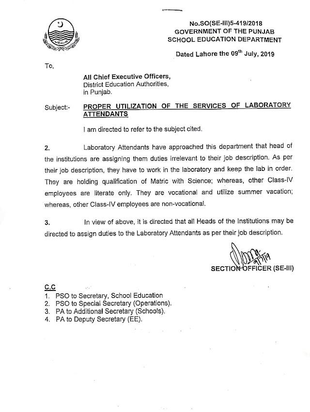 PROPER UTILIZATION OF THE SERVICES OF LABORATORY ATTENDANTS