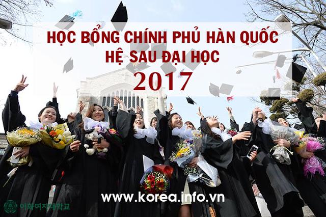 Chương trình học bổng chính phủ Hàn Quốc hệ sau Đại học  2017 (KGSP-G)